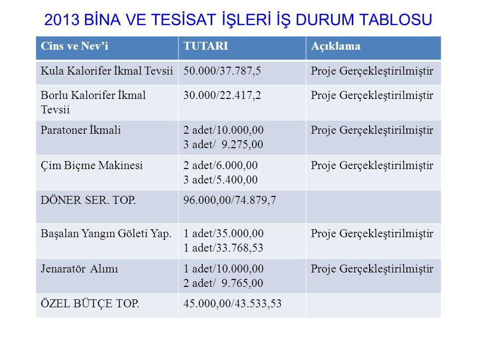 2013 BİNA VE TESİSAT İŞLERİ İŞ DURUM TABLOSU
