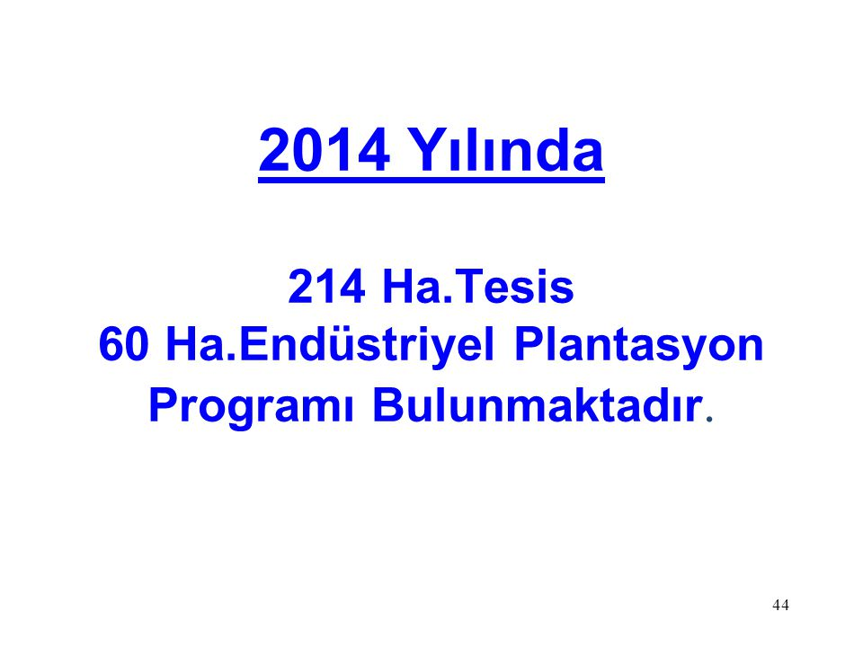 2014 Yılında 214 Ha.Tesis 60 Ha.Endüstriyel Plantasyon Programı Bulunmaktadır.