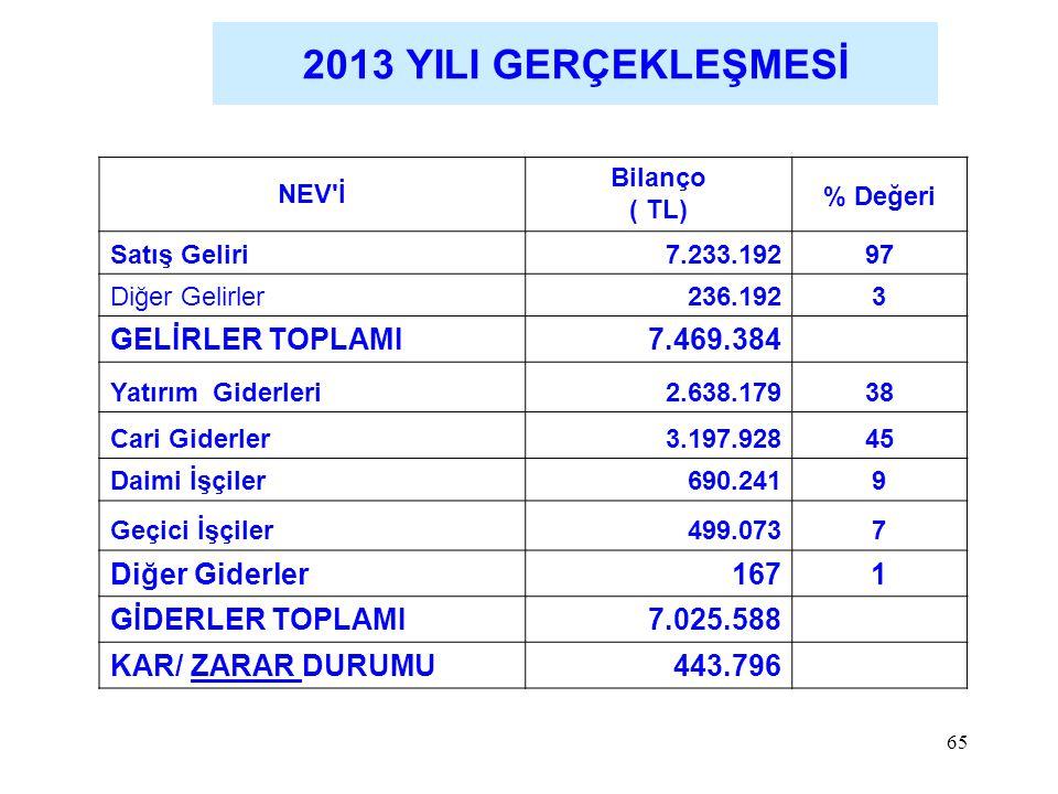2013 YILI GERÇEKLEŞMESİ GELİRLER TOPLAMI 7.469.384 Diğer Giderler 167