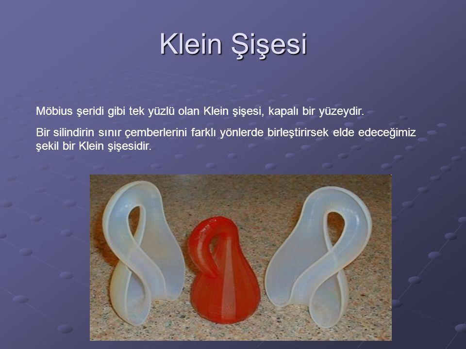 Klein Şişesi Möbius şeridi gibi tek yüzlü olan Klein şişesi, kapalı bir yüzeydir.