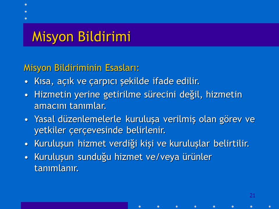Misyon Bildirimi Misyon Bildiriminin Esasları: