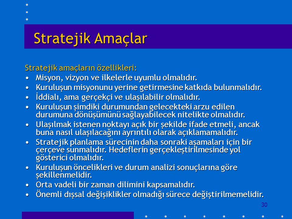 Stratejik Amaçlar Stratejik amaçların özellikleri: