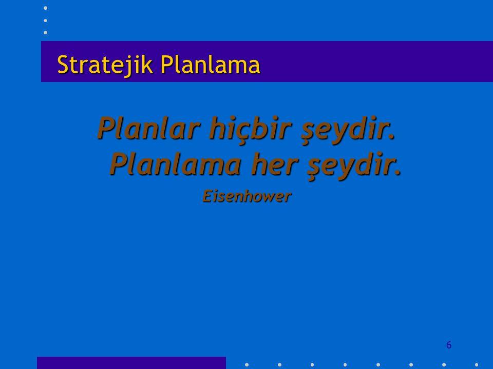 Planlar hiçbir şeydir. Planlama her şeydir.
