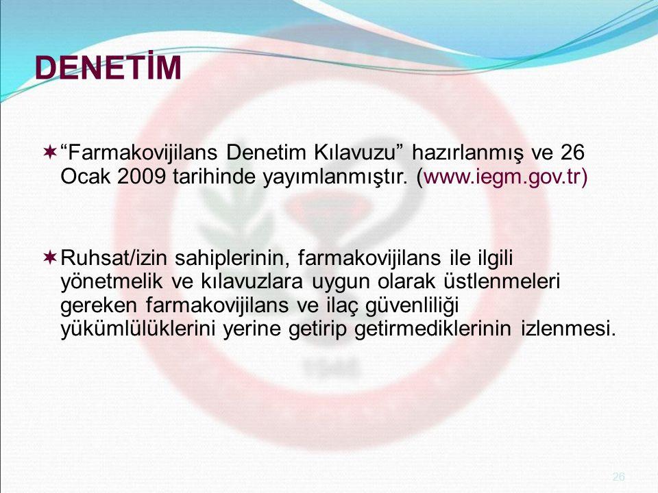 DENETİM Farmakovijilans Denetim Kılavuzu hazırlanmış ve 26 Ocak 2009 tarihinde yayımlanmıştır. (www.iegm.gov.tr)