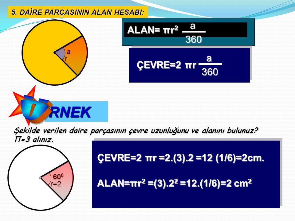 Ö RNEK a ALAN= πr2 360 a ÇEVRE=2 πr 360