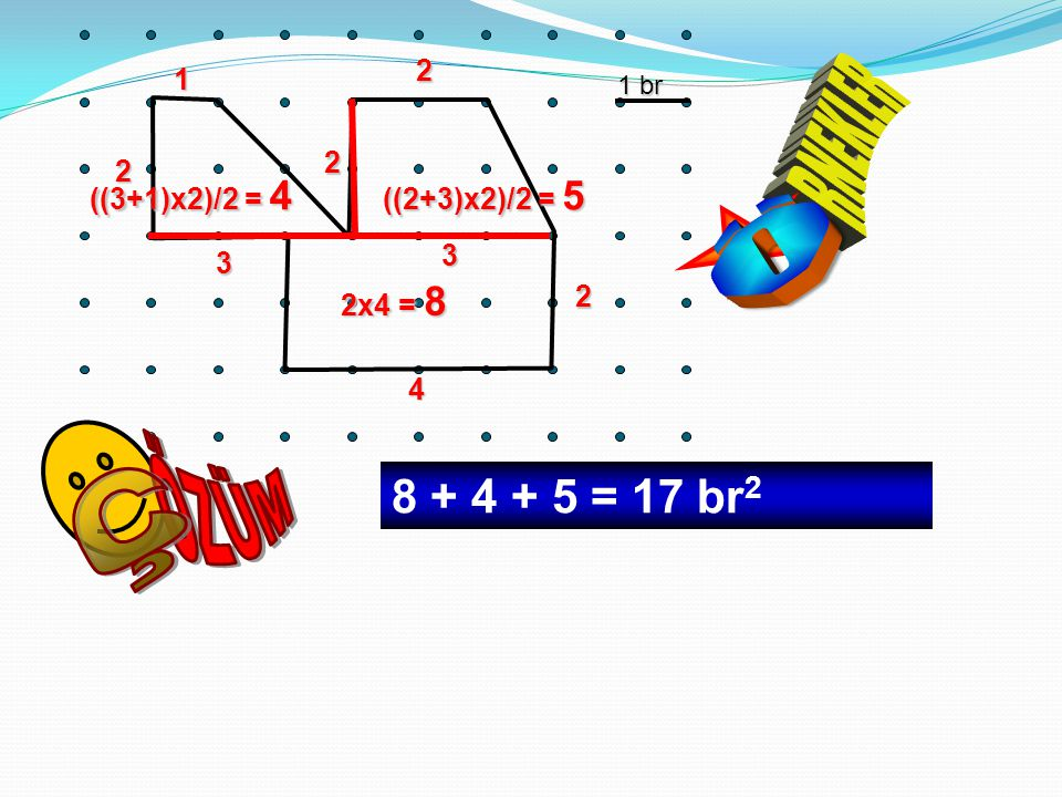 ÖZÜM Ç RNEKLER Ö 8 + 4 + 5 = 17 br2 2 1 2 2 ((3+1)x2)/2 = 4