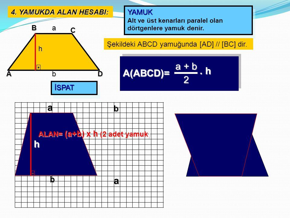 a + b . h A(ABCD)= 2 a h a b b 4. YAMUKDA ALAN HESABI: YAMUK B a C