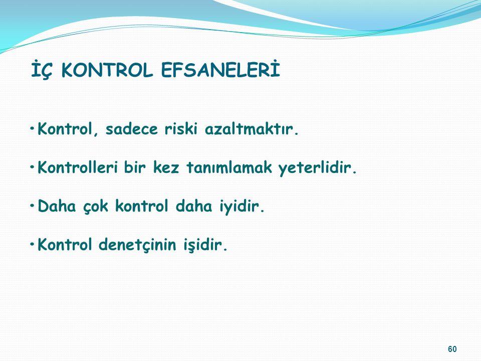 İÇ KONTROL EFSANELERİ •Kontrol, sadece riski azaltmaktır.