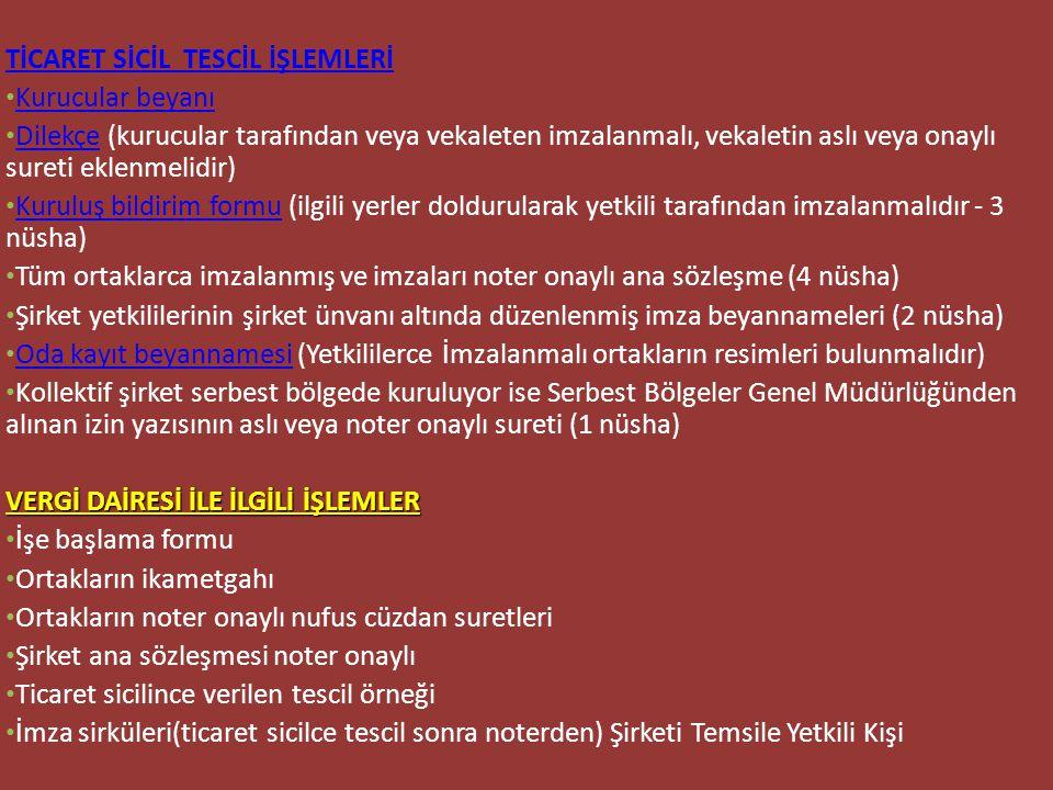 TİCARET SİCİL TESCİL İŞLEMLERİ