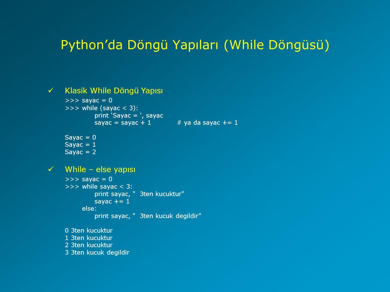 Python'da Döngü Yapıları (While Döngüsü)