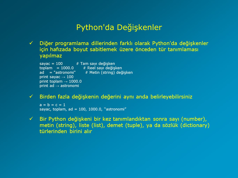 Python da Değişkenler