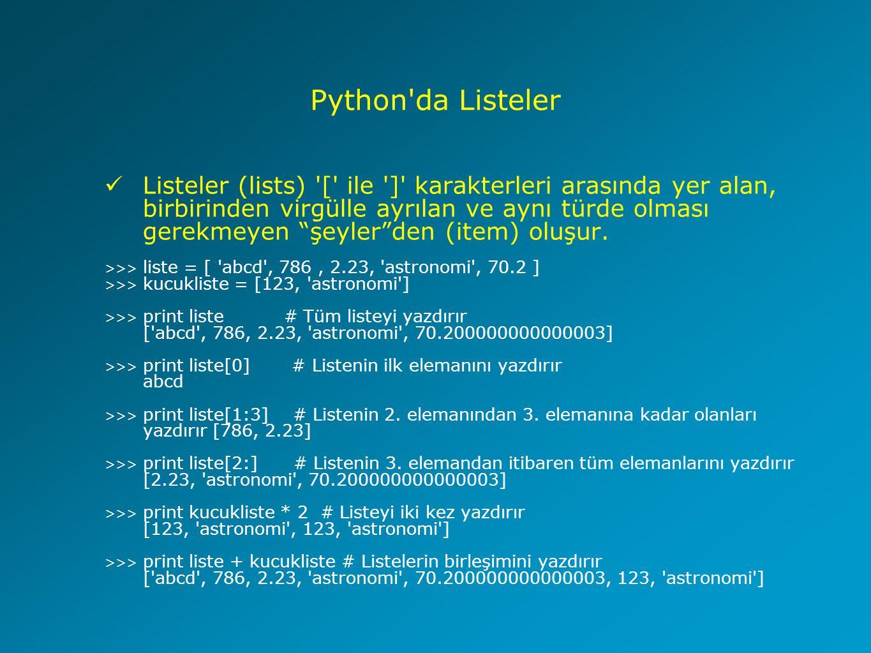 Python da Listeler