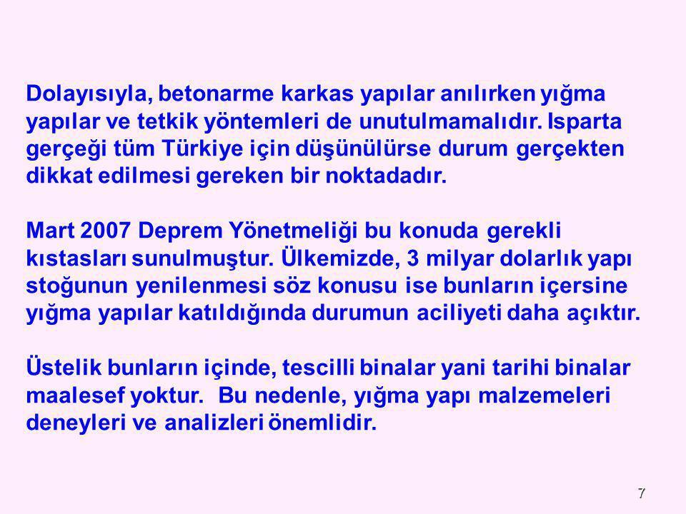 Dolayısıyla, betonarme karkas yapılar anılırken yığma yapılar ve tetkik yöntemleri de unutulmamalıdır. Isparta gerçeği tüm Türkiye için düşünülürse durum gerçekten dikkat edilmesi gereken bir noktadadır.
