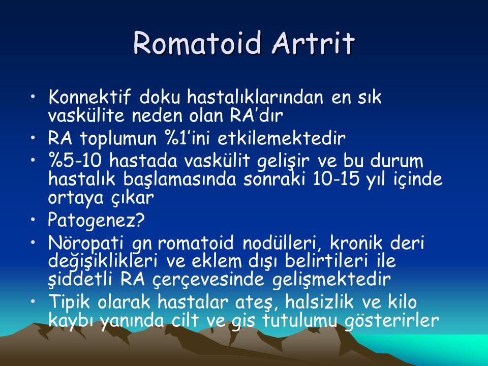 Romatoid Artrit Konnektif doku hastalıklarından en sık vaskülite neden olan RA'dır. RA toplumun %1'ini etkilemektedir.
