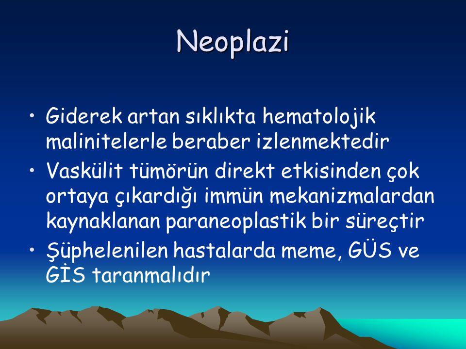 Neoplazi Giderek artan sıklıkta hematolojik malinitelerle beraber izlenmektedir.