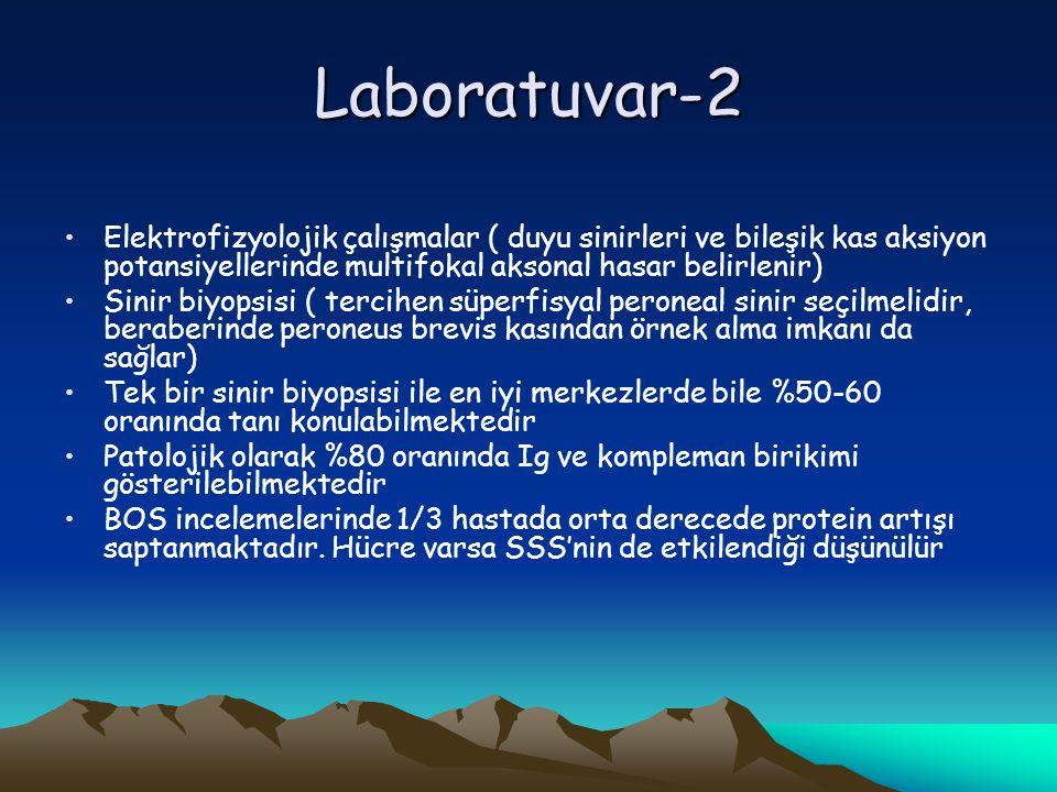 Laboratuvar-2 Elektrofizyolojik çalışmalar ( duyu sinirleri ve bileşik kas aksiyon potansiyellerinde multifokal aksonal hasar belirlenir)