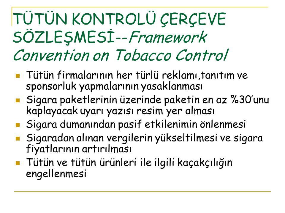 TÜTÜN KONTROLÜ ÇERÇEVE SÖZLEŞMESİ--Framework Convention on Tobacco Control