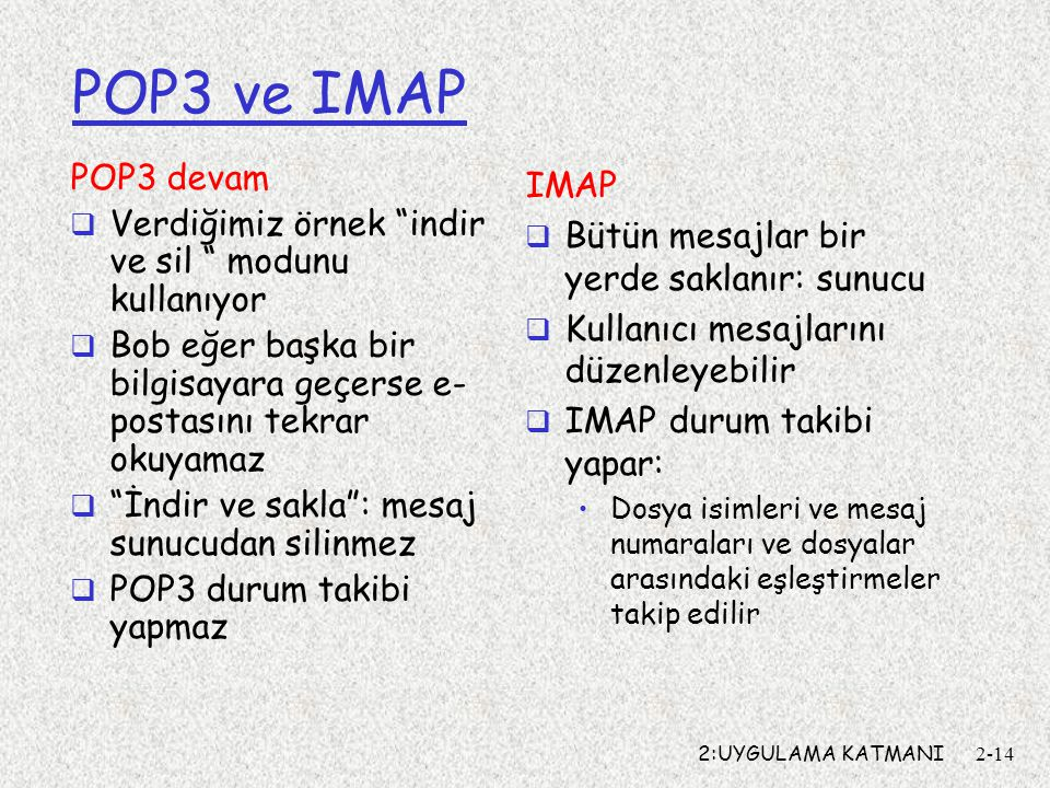 POP3 ve IMAP POP3 devam IMAP