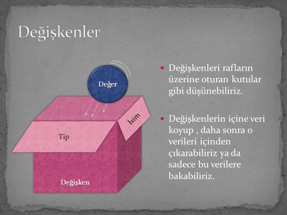 Değişkenler Değişkenleri rafların üzerine oturan kutular gibi düşünebiliriz.