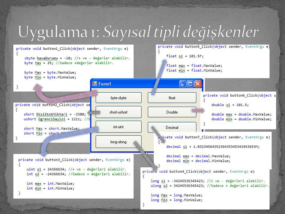 Uygulama 1: Sayısal tipli değişkenler