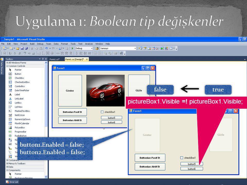 Uygulama 1: Boolean tip değişkenler
