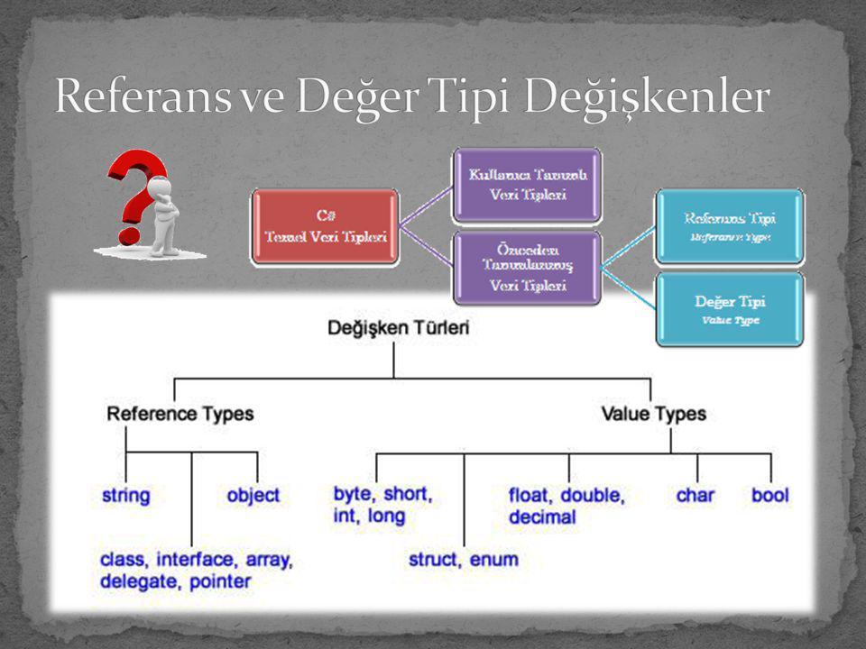 Referans ve Değer Tipi Değişkenler
