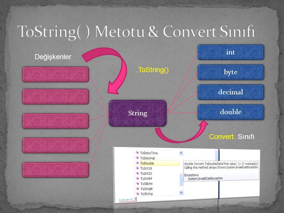ToString( ) Metotu & Convert Sınıfı