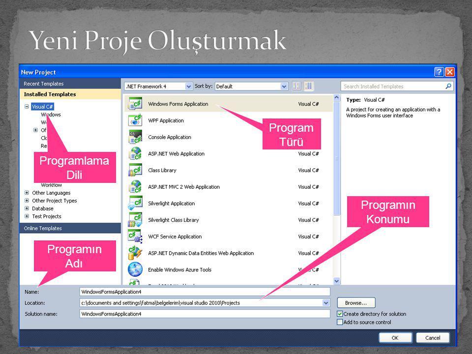 Yeni Proje Oluşturmak Program Türü Programlama Dili Programın Konumu
