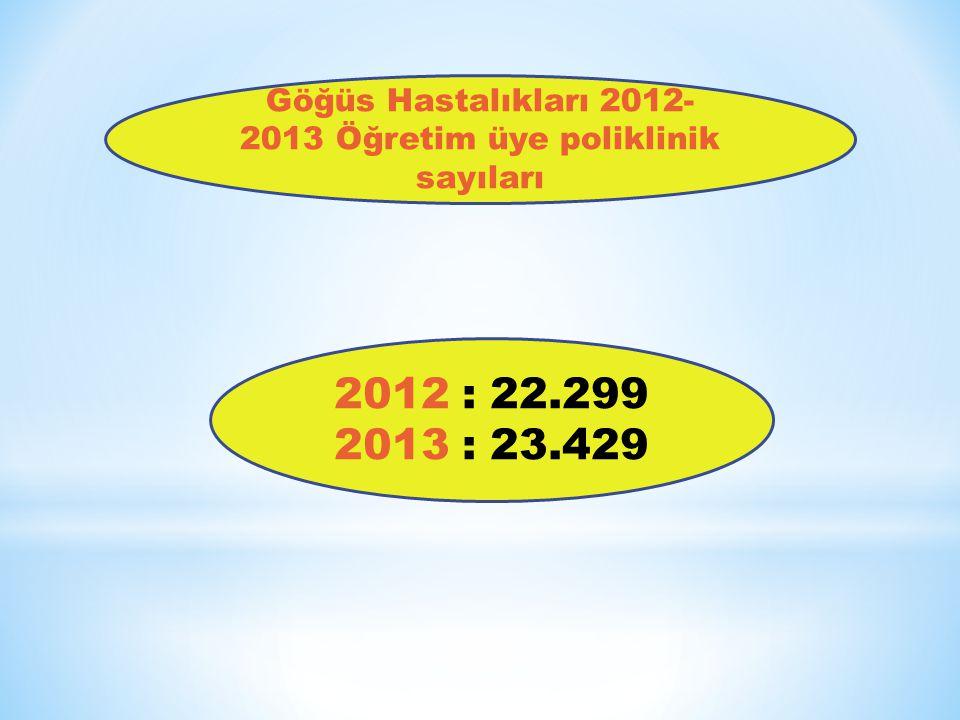 Göğüs Hastalıkları 2012-2013 Öğretim üye poliklinik sayıları