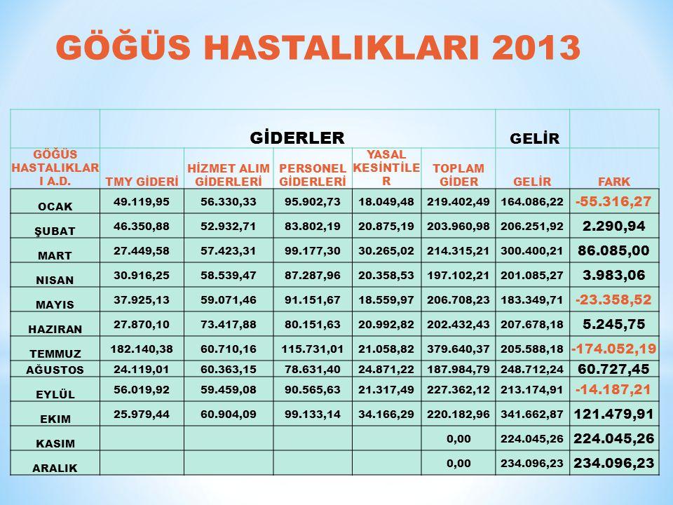 GÖĞÜS HASTALIKLARI 2013 GİDERLER GELİR -55.316,27 2.290,94 86.085,00