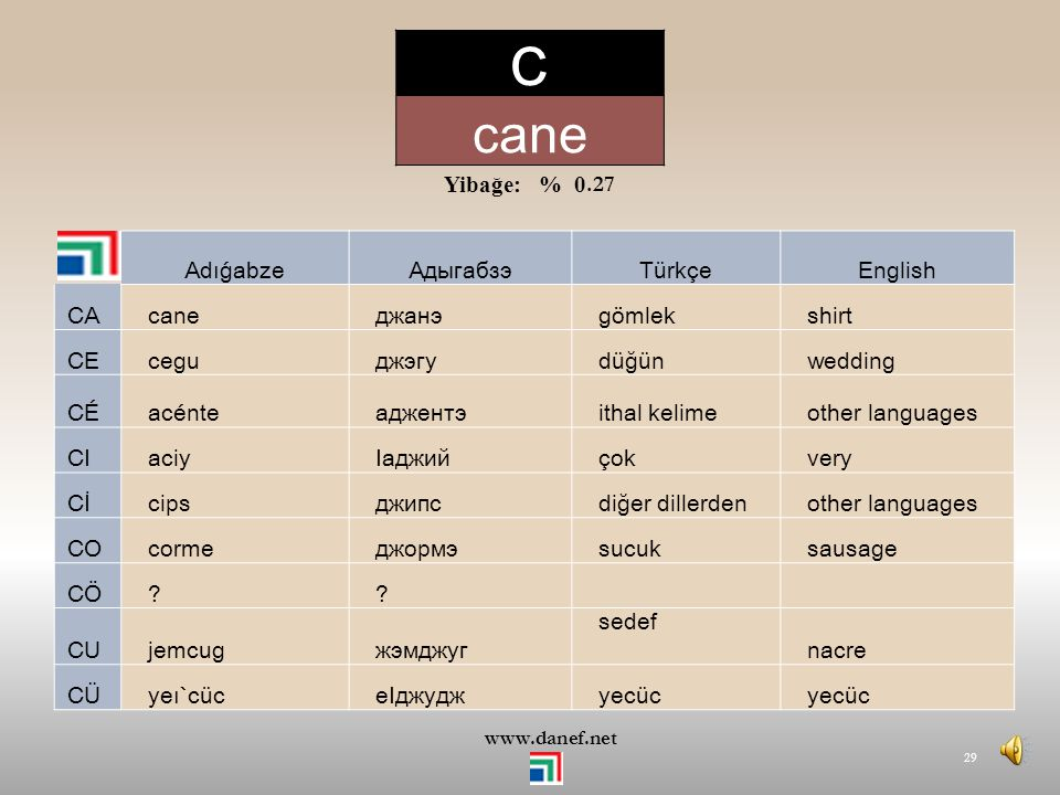 C cane Yibağe: % 0.27 Adıǵabze Адыгабзэ Türkçe English CA cane джанэ