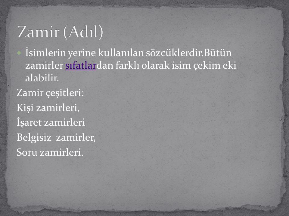 Zamir (Adıl) İsimlerin yerine kullanılan sözcüklerdir.Bütün zamirler sıfatlardan farklı olarak isim çekim eki alabilir.