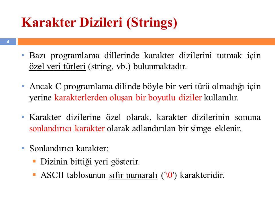 Karakter Dizileri (Strings)