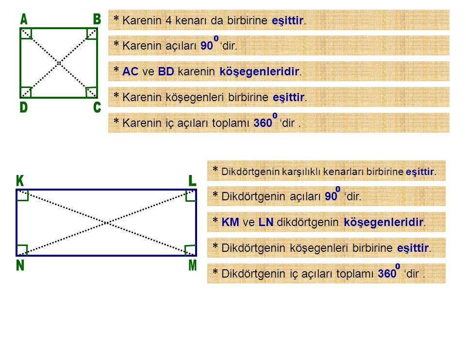 A B D C C K L N M * Karenin 4 kenarı da birbirine eşittir.