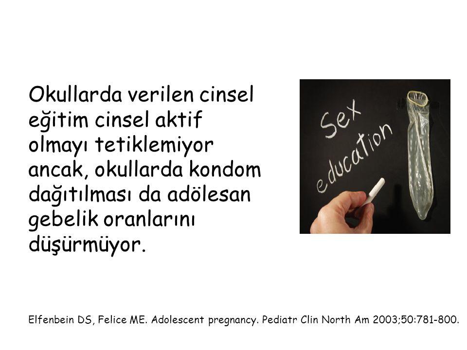 Okullarda verilen cinsel eğitim cinsel aktif olmayı tetiklemiyor ancak, okullarda kondom dağıtılması da adölesan gebelik oranlarını düşürmüyor.