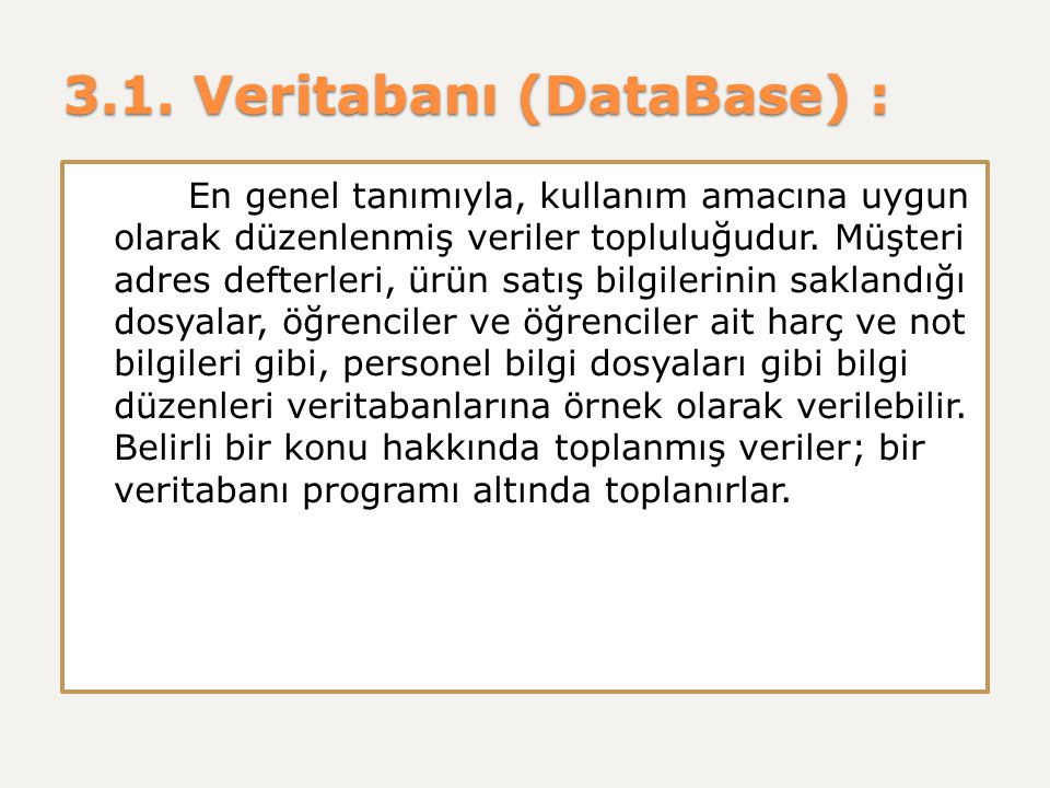 3.1. Veritabanı (DataBase) :