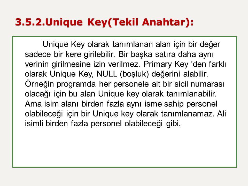 3.5.2.Unique Key(Tekil Anahtar):