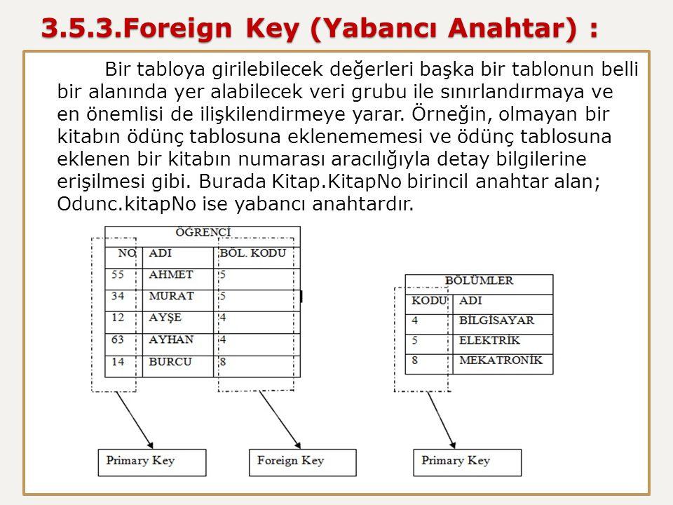 3.5.3.Foreign Key (Yabancı Anahtar) :