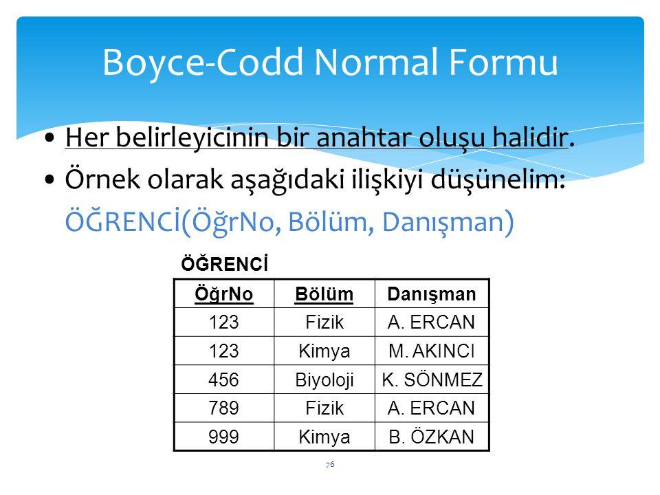 Boyce-Codd Normal Formu