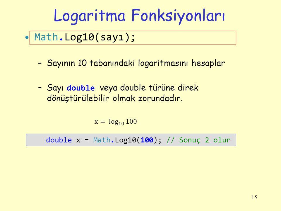 Logaritma Fonksiyonları