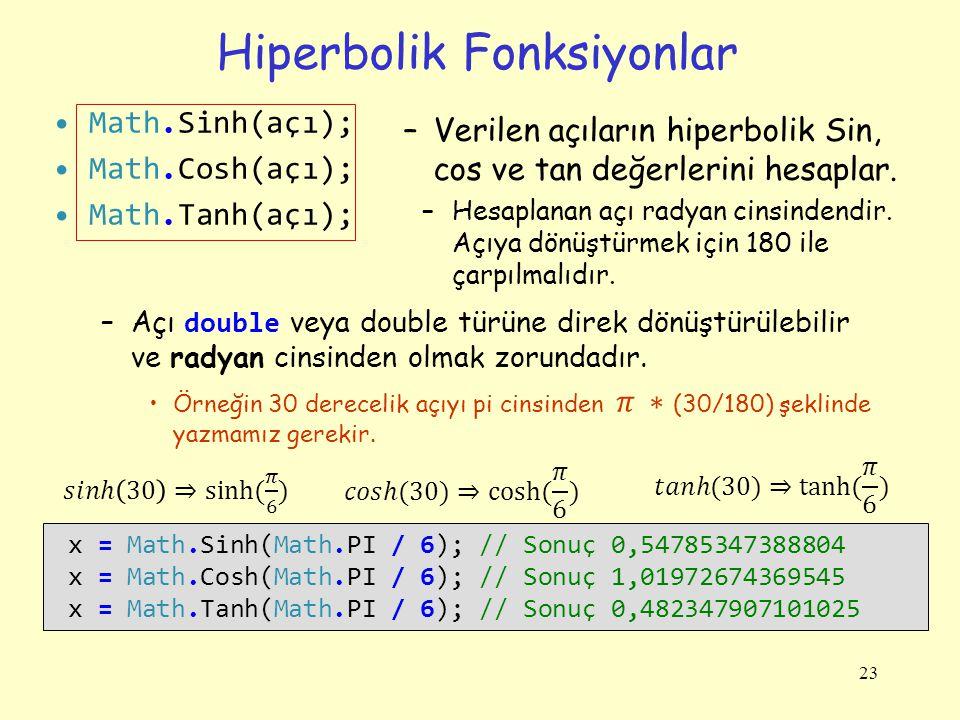 Hiperbolik Fonksiyonlar