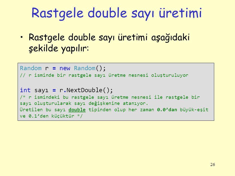 Rastgele double sayı üretimi