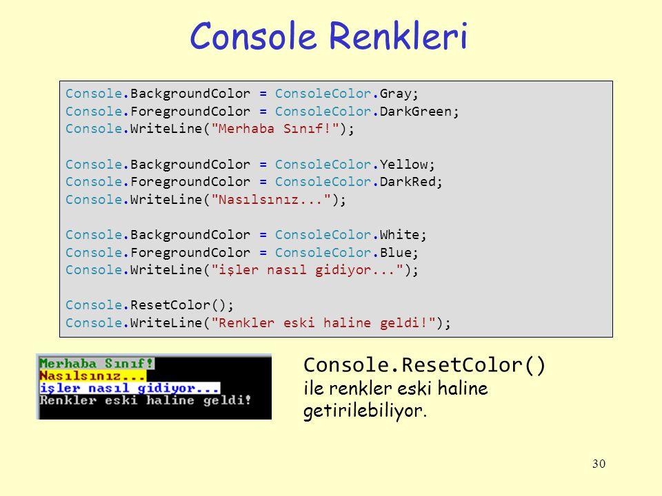 Console Renkleri Console.ResetColor()