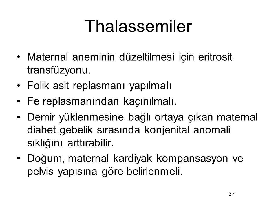 Thalassemiler Maternal aneminin düzeltilmesi için eritrosit transfüzyonu. Folik asit replasmanı yapılmalı.