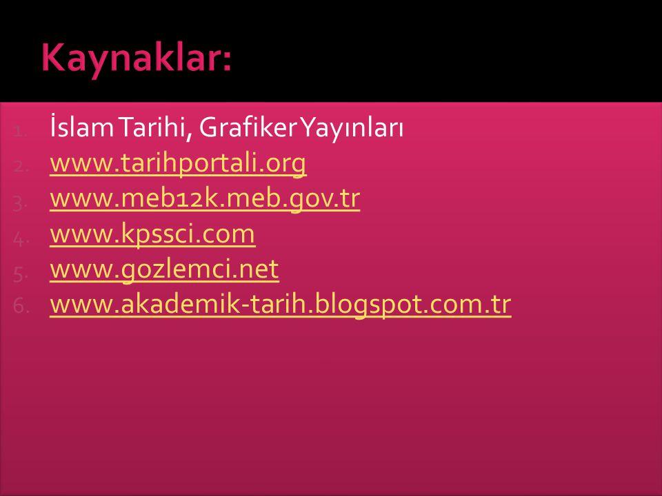 Kaynaklar: İslam Tarihi, Grafiker Yayınları www.tarihportali.org