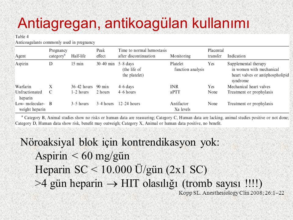 Antiagregan, antikoagülan kullanımı