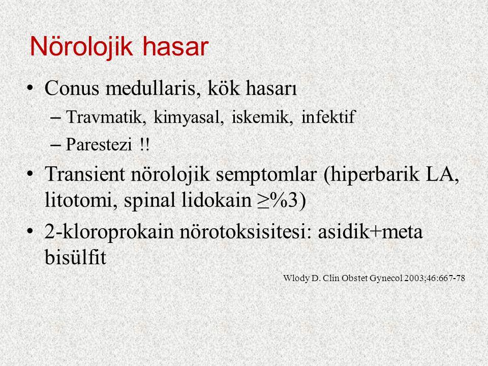 Nörolojik hasar Conus medullaris, kök hasarı