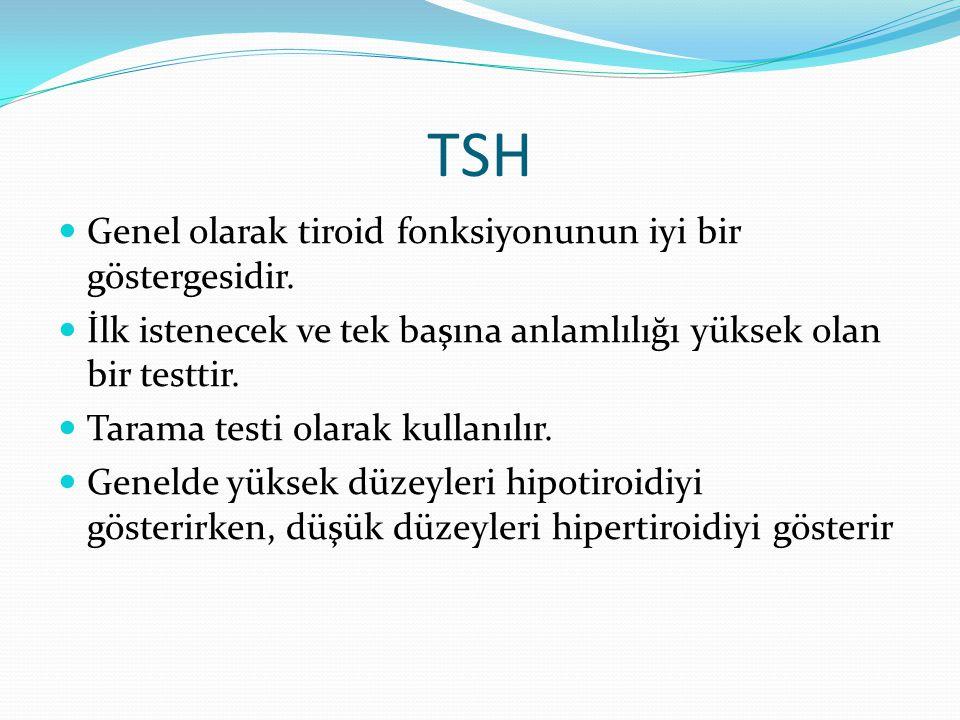 TSH Genel olarak tiroid fonksiyonunun iyi bir göstergesidir.