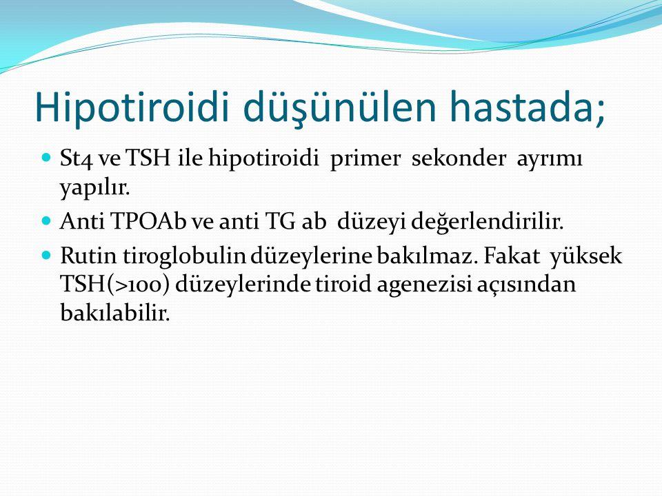 Hipotiroidi düşünülen hastada;