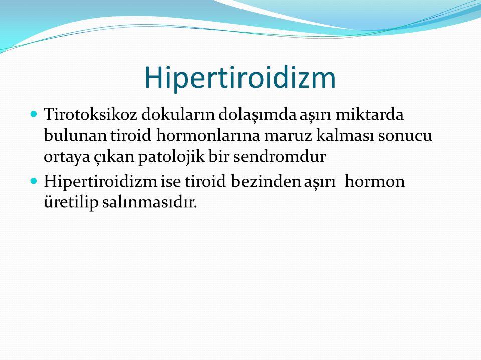 Hipertiroidizm Tirotoksikoz dokuların dolaşımda aşırı miktarda bulunan tiroid hormonlarına maruz kalması sonucu ortaya çıkan patolojik bir sendromdur.